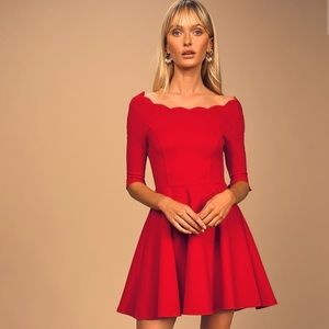 NWT LULUS Tip the Scallops Red Skater Dress XS